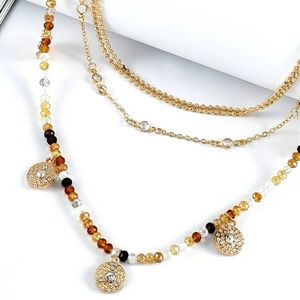Vintage gold necklace with beading and pendant